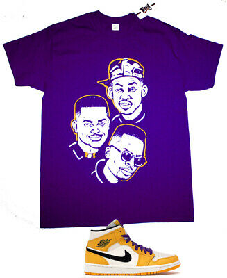 Purple Fnly94 Fresh Prince of Bel Air cast shirt to match Jordan 1 Mid SE Lakers