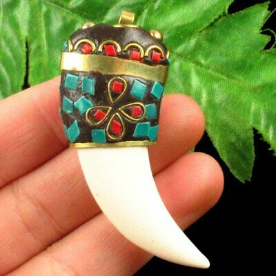 Indonesia Rare Earth Bronze & Chinese Old Jade Hand-made Pendant Bead A68628