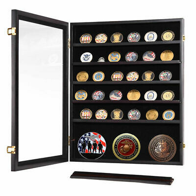 7 Shelf Lockable Challenge Coin Poker Chip Display Case Wall Shadow Box Cabinet