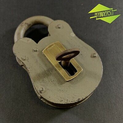 Antique Hand Made Steel Lever Padlock With Brass Cover & Key Working