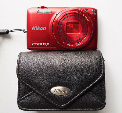 Nikon COOLPIX S6800 16 MP 1080P FHD WiFi App RED Digital Camera Leather Case
