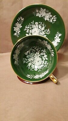 Gorgeous Aynsley Footed Teacup - Dark Green w/ White Roses & Gold Trim England