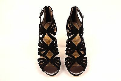 a5979fa44e53 New Sam Edelman Black Eve Womens Cage Sandal Suede Strappy Heels Pumps 5.5   170