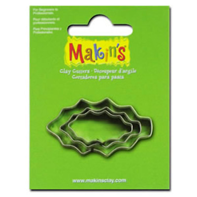 Makins Clay & Cookie Cutters - HOLLY LEAF shape (Set of 3) cake Fondant