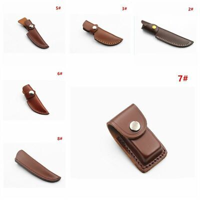 Cowhide Leather Sheath Pocket Folding Straight Knife Multi Tool Case Pouch
