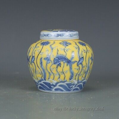 Rare Chinese Yellow Glaze Blue White Fish algae Porcelain Tianzi can Jar tank