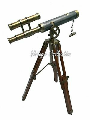Victorian Antique Brass Double Barrel Leather Telescope with Wooden Tripod Stand