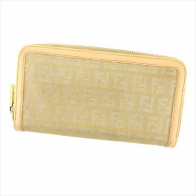 75eb0926177c Fendi Wallet Purse Zucchino Beige Gold Canvas Leather Woman Authentic Used  H624
