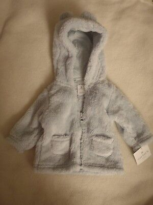 5e0e623a6 NWT  30 CARTERS Baby Boy or Girl White Hooded Sherpa Zip-Up Bear ...