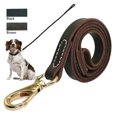 Heavy Duty First Classic Genuine Leather Dog Lead Brass Clasp for Dog Training