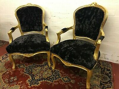 Pair Of French Style Upholstered Louis Xv Arm Chairs