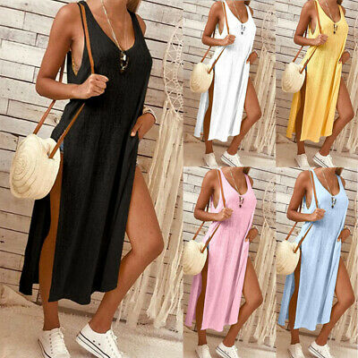 UK Sexy Womens Blouse Sleeveless Tank Tops T-Shirt Casual Loose Long Maxi Dress