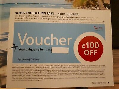 TUI,Thompson, First Choice Holiday Discount Code/Voucher worth £100