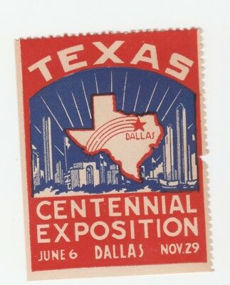 US- Texas Centennial Expo. Dallas 1936 Poster stamp with gum but damaged & hinge