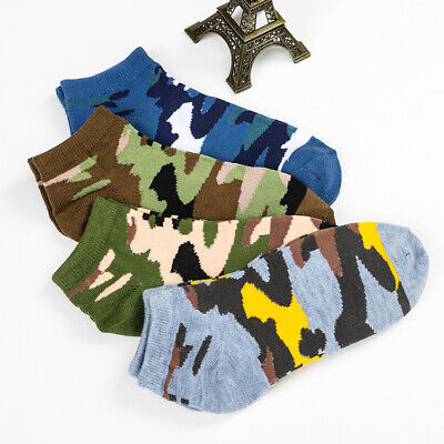Mens Camouflage Cotton Socks Crew Ankle Low Cut Retro Casual Dress Camo Socks