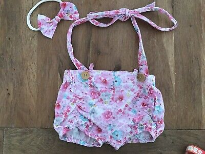 La Sienna Couture Girls Floral Pink Shorts With Headband Size 2