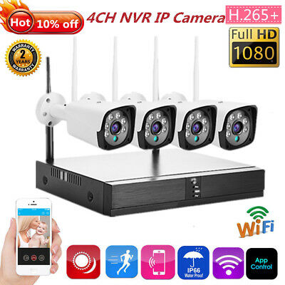 4CH HD 1080P Wireless WiFi IP Camera HDMI NVR Outdoor Security System CCTV Kit