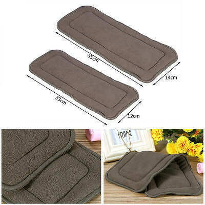Reusable 5 Layers Adult Cloth Diaper Nappy Liner Insert Bamboo Charcoal Pad JS