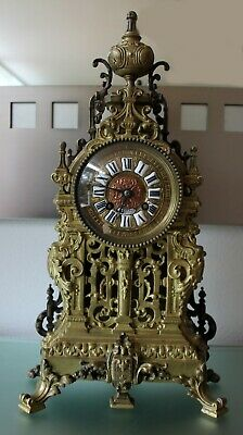 Antique Bronze Mantle Clock French Superb 1850 Embossed Pierced Bell Striking