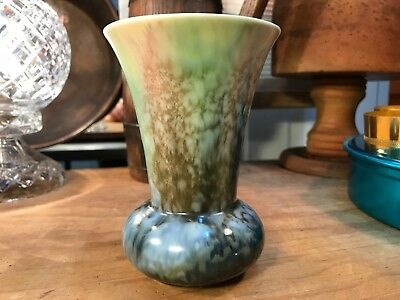 Beautiful Vintage Art Deco English Pottery Tapered Vase Mottled Colours 13cm
