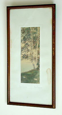 ANTIQUE Vintage FRED THOMPSON Signed HAND TINTED Colored Photograph / Nutting