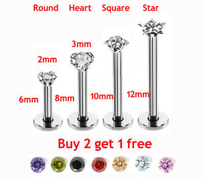 316L Steel Labret Monroe Tragus Bar Helix Cartilage Ear Lip Stud Piercing Gem