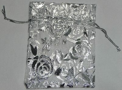 10 x ORGANZA BAGs ~ NEW ~ Silver Coloured Rose Print Design approx 7cmx9cm