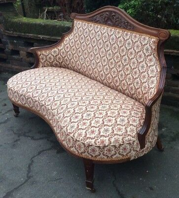 Elegant Late Victorian Mahogany Frame Two Seater Salon Settee
