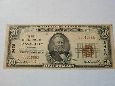 1929 50 Dollar Bill Brown Seal National Bank of Kansas City low serial number