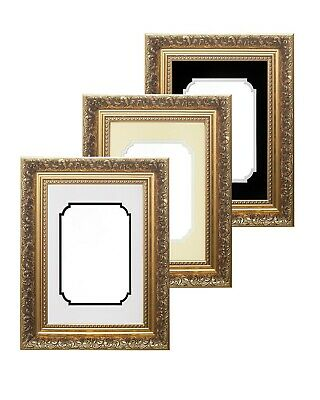 Ornate Swept Antique Baroque Style Picture Photo Frame - Antique Double Mount