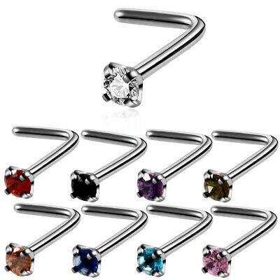 Nose Stud Pin Surgical Steel Small Gem Crystal L Shape Nose Piercing Stud Pin