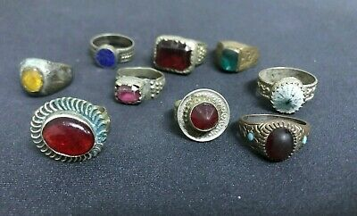 Wholesale 9Pcs Old Rings Afghan Kuchi Nomad Tribal Alpaca Silver Assorted Vtc