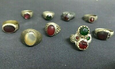 Wholesale 9Pcs Old Rings Afghan Kuchi Nomad Tribal Alpaca Silver Assorted Red