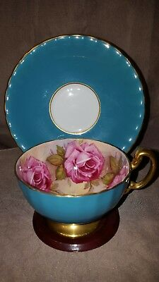 Vtg Aynsley Cabbage Roses Turquoise Gold Trim Footed TeaCup & Saucer Set Nice!!
