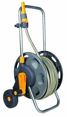 Large Hosepipe  + Cart Hozelock 50m Garden Hose Drum Stand Wheels Winding Handle