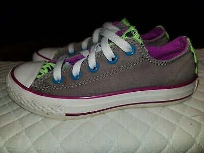 2bc1f79d550cc6 Girls Converse All Star Gray Blue Green Double Tongue Low Top Shoes Size 12