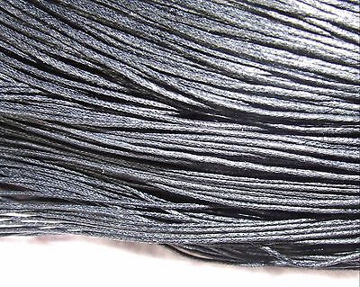 16 metres black waxed cotton cord 2 mm plaiting bracelet necklace knots lace W92