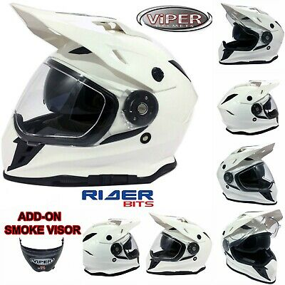 RXV288 Adult Motocross Motorbike MX Helmet ATV Quad Dual Visor On/Off Road White