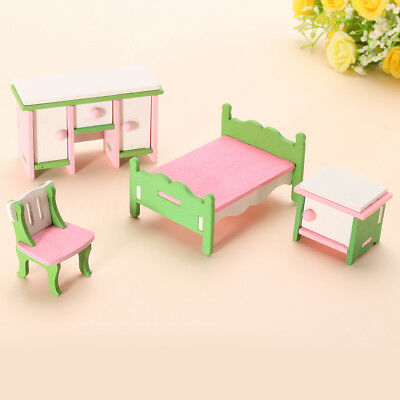 Kids Furniture Set Toy Doll House Miniature Bedroom Wooden Role Pretend Play Toy