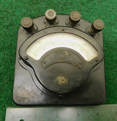 DC Ammeter / Amp Meter  Antique Weston Electrical Instrument Company  LS / No R