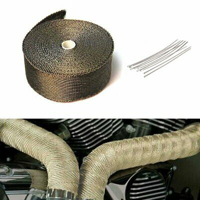 MOTORCYCLE CAR 10M TITANIUM HEAT WRAP EXHAUST MANIFOLD+10 STAINLESS TIES 30cm UK