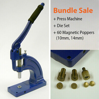 60 Magnetic Poppers + Press Machine Punch Tool, Stud, Sewing, Leather Craft