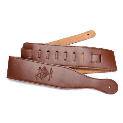 Soft Leather Thick Strap Belt Adjustable Brown for Electric Acoustic Guitar Bass