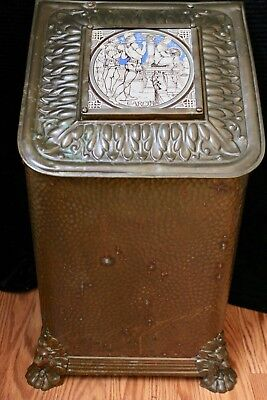 Classic Antique Victorian Brass Coal Scuttle Box With Outstanding MINTON tile