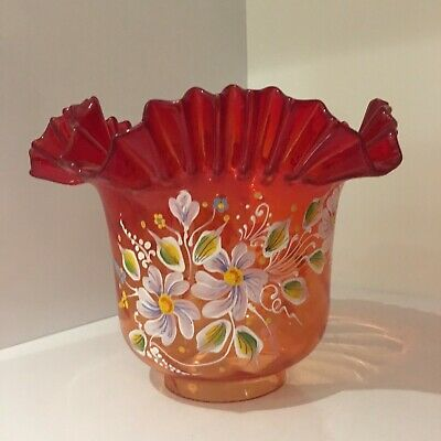 Superb Glass Oil Lamp Shade Hand Painted In Excellent Condition
