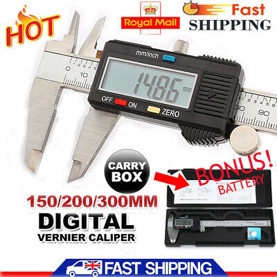 150/200/300mm Electronic Digital Vernier Caliper Stainless LCD Gauge with Case