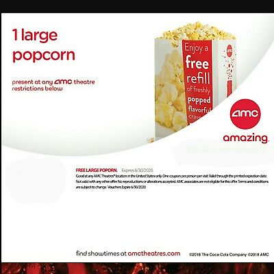 AMC 12 Large Popcorn Expires June 30, 2020 fast via email  same day movie movies
