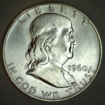 1960 D SILVER Franklin Half Dollar United States Coin Uncirculated 50 Cents 50c
