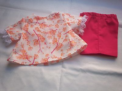"""American Made 18"""" Girl Doll Clothes Orange Flowers on White Top Hot Pink Shorts"""
