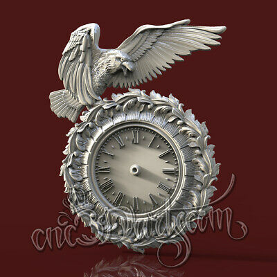 3D Model STL CNC Router Artcam Aspire Raven Animal Hunting Clock Cut3D Vcarve